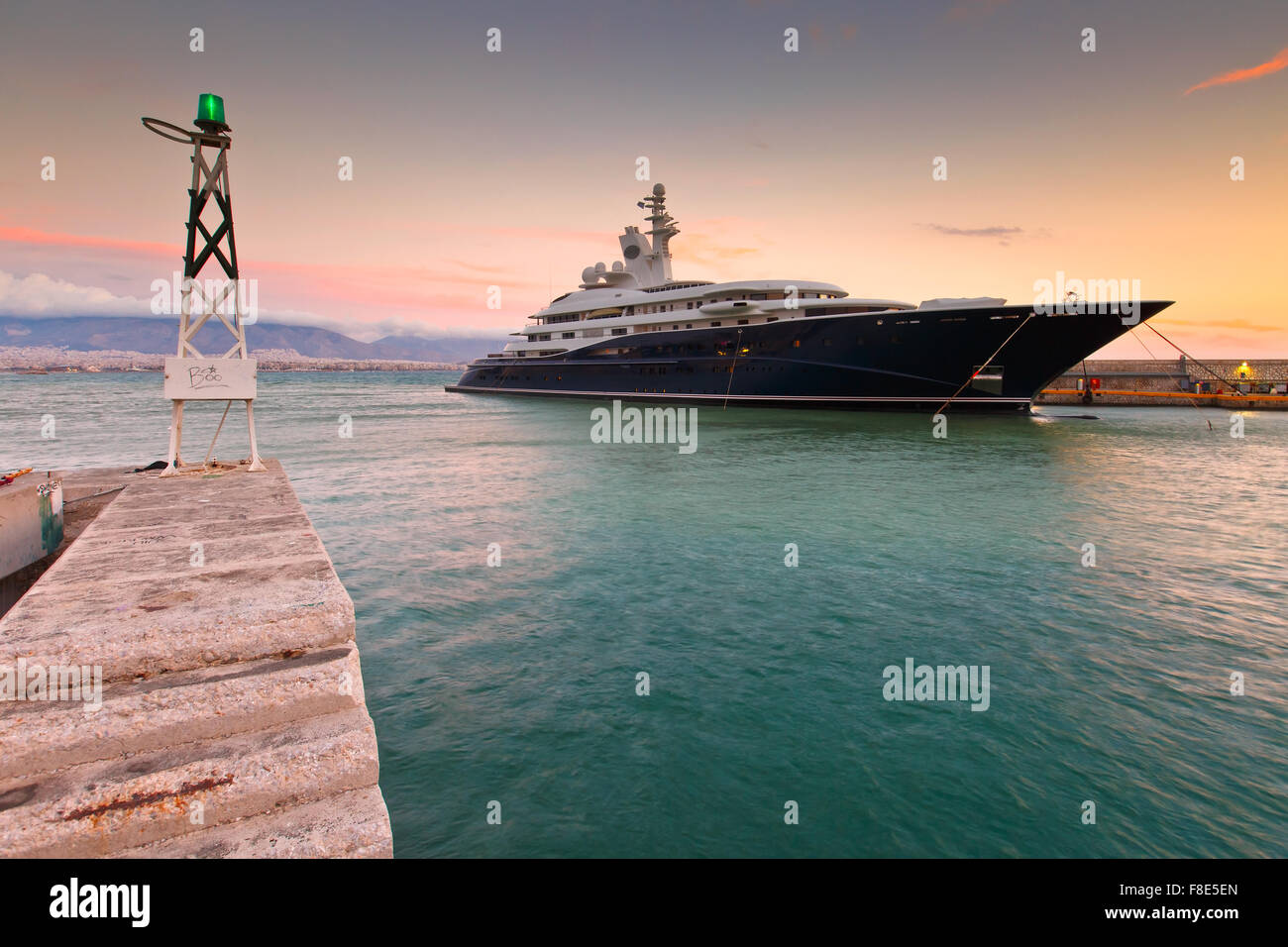 Luxurious yacht in the mouth of Zea Marina in Athens, Greece - Stock Image