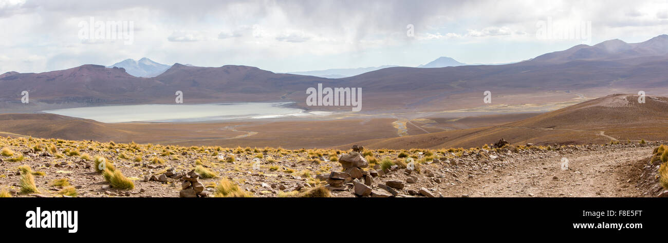 Mountains and salt pan in Eduardo Avaroa Reserve, Bolivia - Stock Image