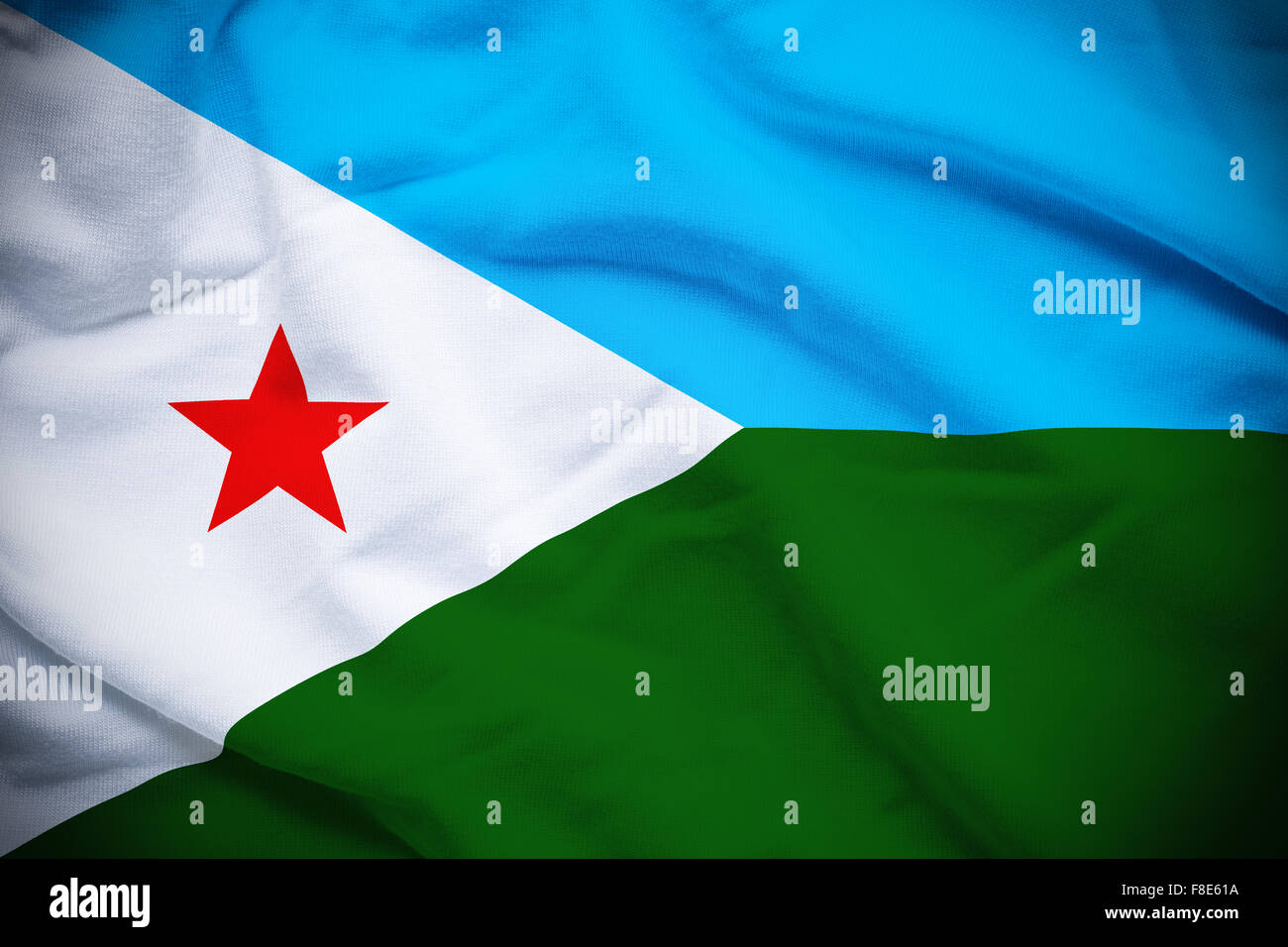 Wavy and rippled national flag of Djibouti background. - Stock Image