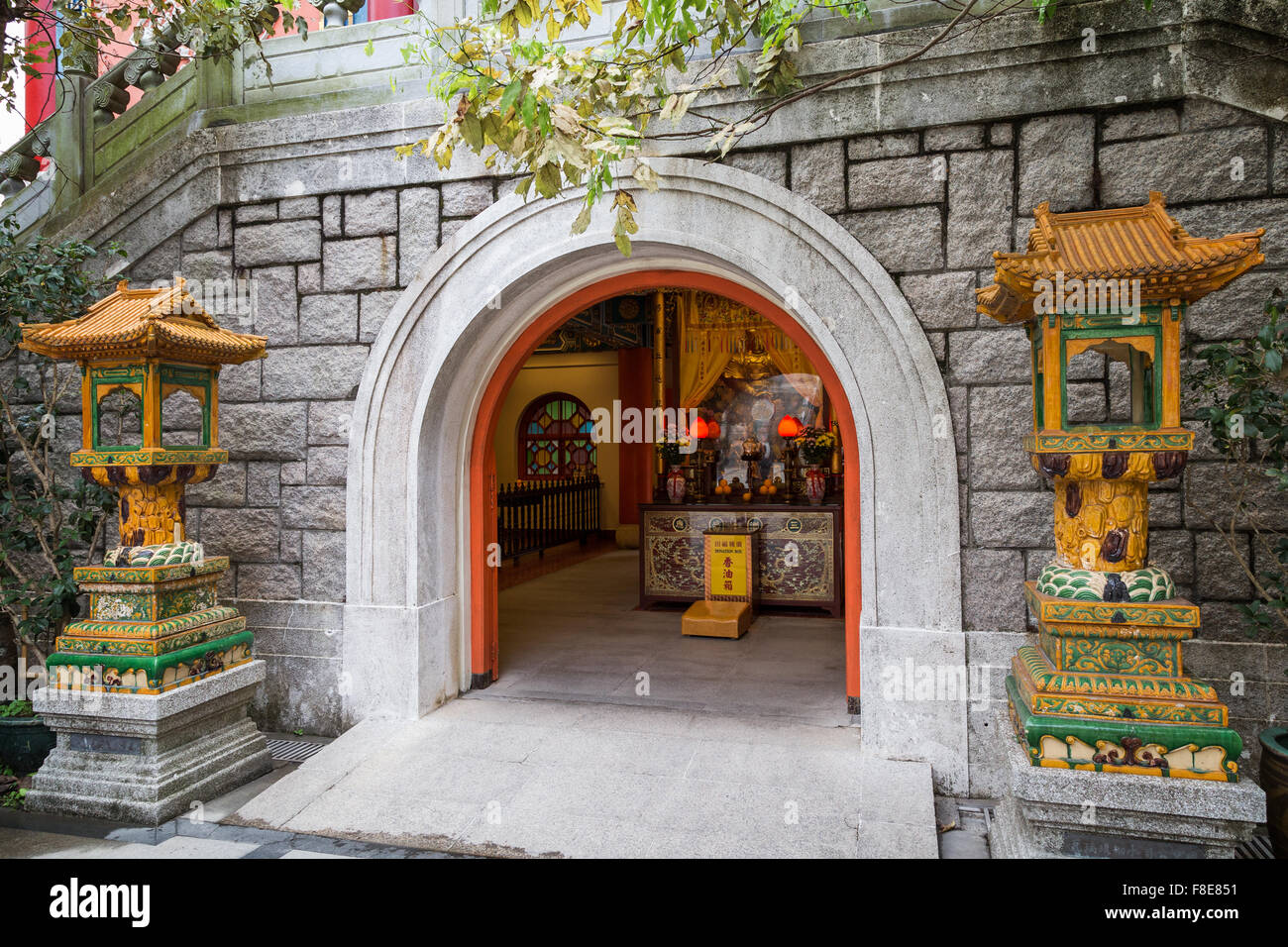 Hall of Bodhisattva Skanda - the main entrance of the Po Lin Monastery on Lantau Island in Hong Kong, China. - Stock Image