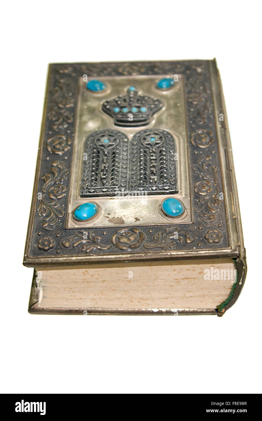 Old decorated silver plated Bible - Stock Image