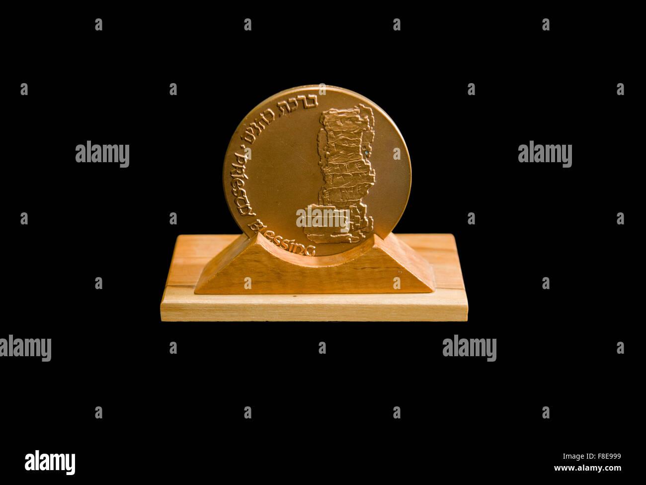 Israeli Priestly Blessing bronze Medal on black background - Stock Image