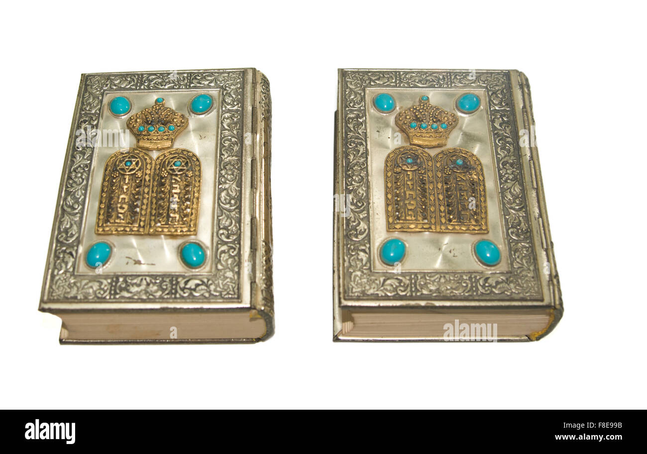 Jewish Sidur (prayer book) for the high holidays of Rosh Hashana and Yom Kippour On white Background - Stock Image