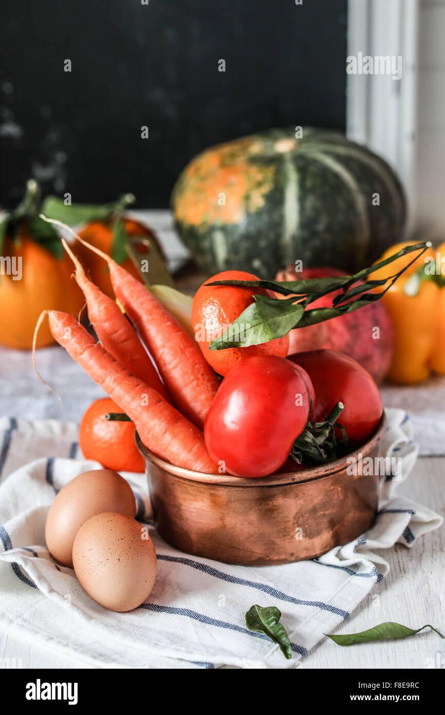 Fresh farmers garden vegetables - Stock Image