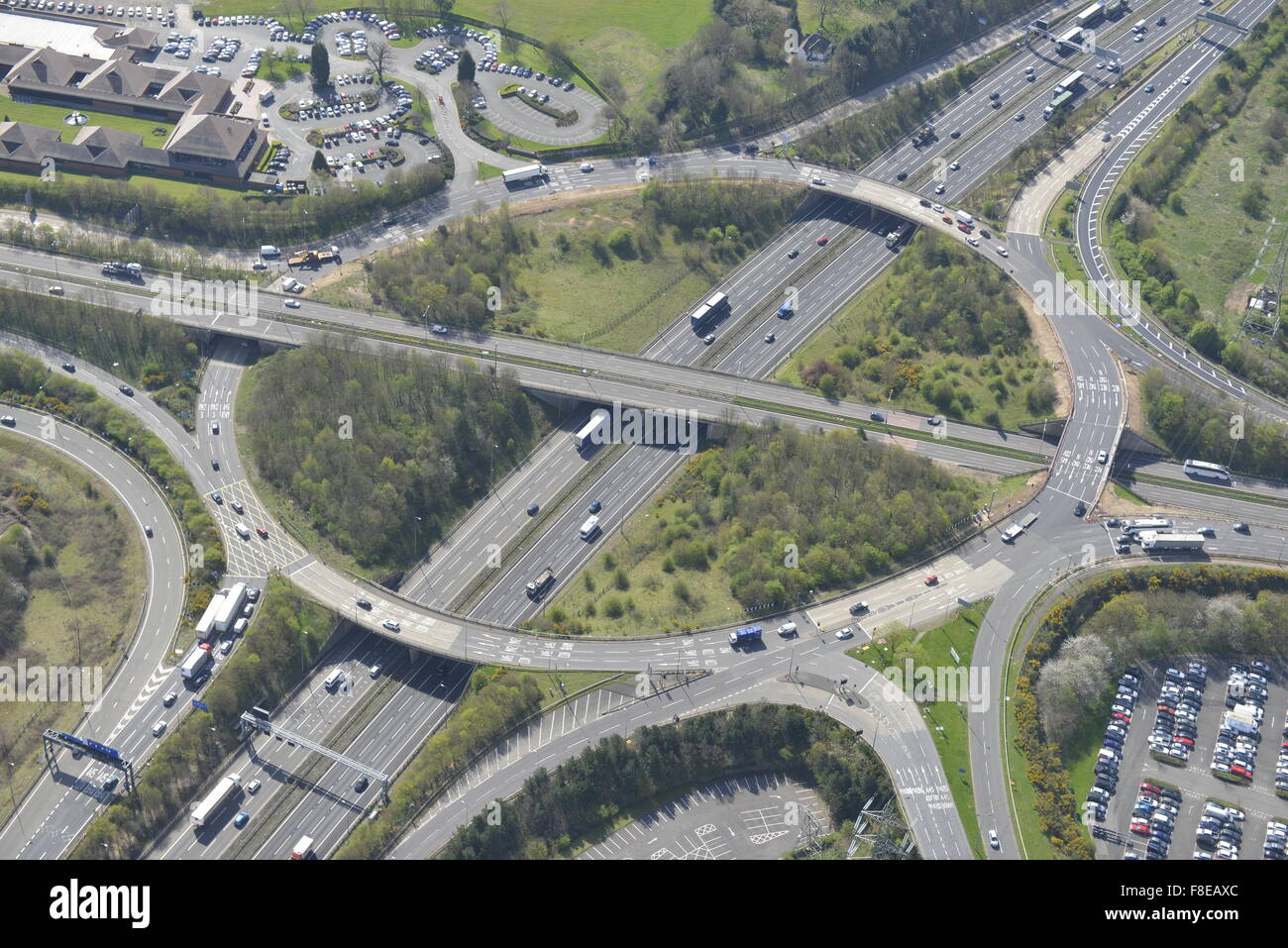 An aerial view of Junction 6 of the M42 for Birmingham NEC and Stock ...