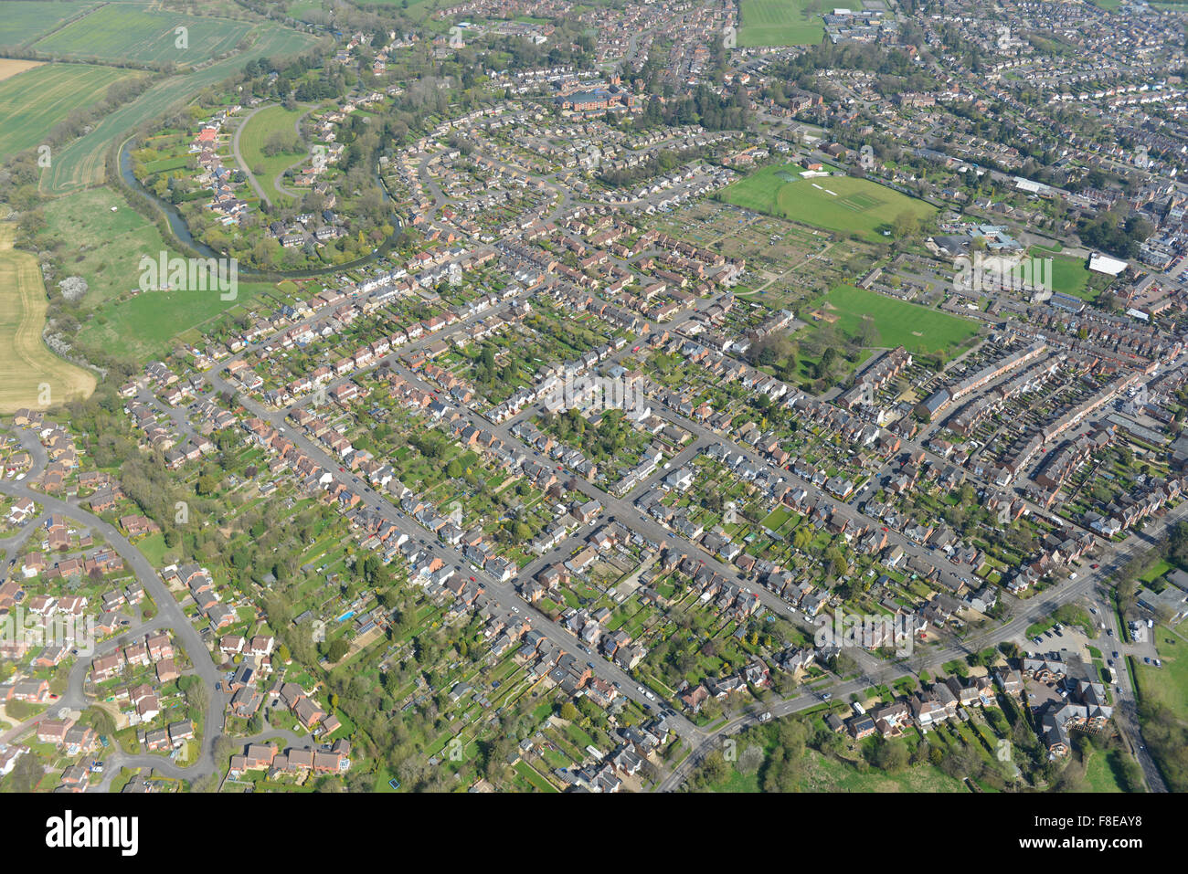An aerial view of the Leicestershire town of Market Harborough - Stock Image