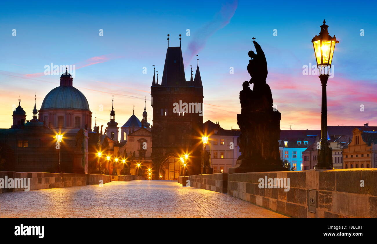 Charles Bridge skyline, Prague Old Town city, Czech Republic, UNESCO - Stock Image