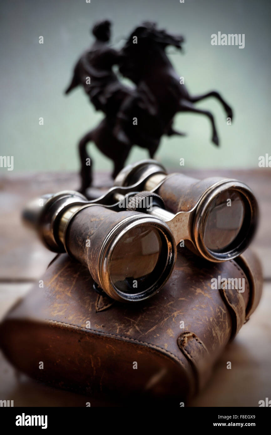 binoculars and horse rider - Stock Image