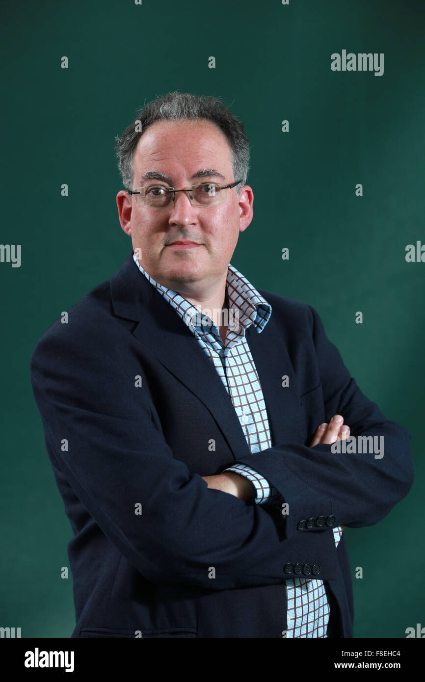 A portrait of Gideon Rachman in Charlotte Square Gardens during The Edinburgh International Book Festival. Stock Photo