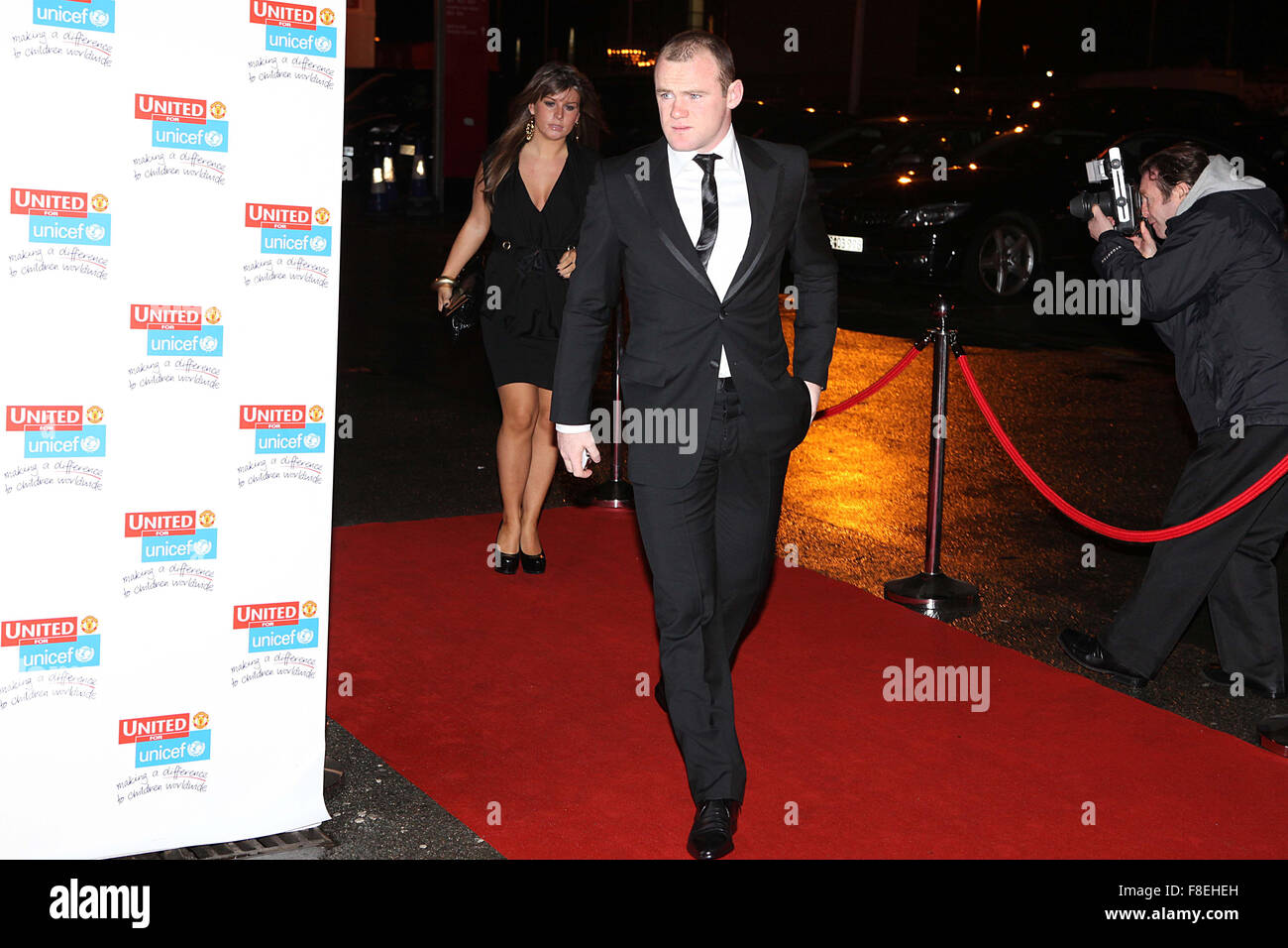 United for UNICEF red carpet at Old Trafford .wayne and coleen rooney - Stock Image