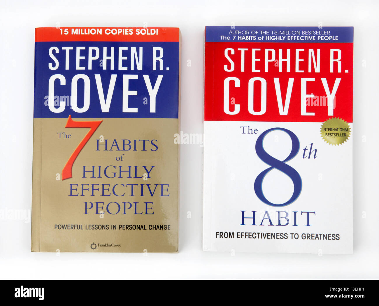Two book - The 7 Habits of Highly Effective People and The 8th Habit From Effectiveness to Greatness both by Stephen - Stock Image