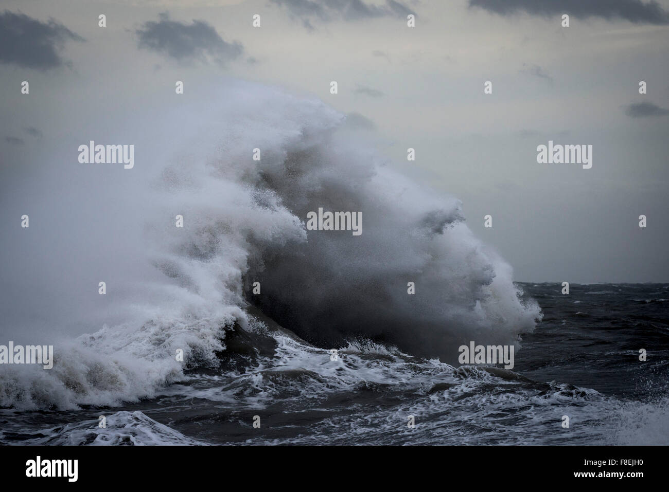 Wild seas as Storm Desmond batters the coast of Porthcawl in South Wales. - Stock Image