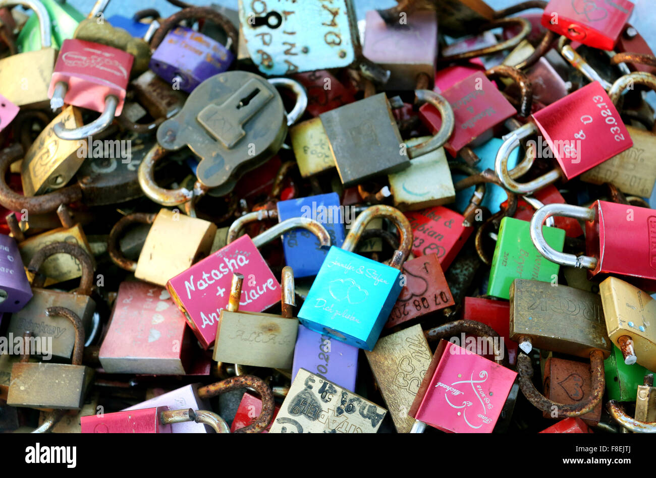 Love locks removed from a bridge over the Rhein Herne Canal cen be seen a box in Oberhausen, Germany, 09 December - Stock Image