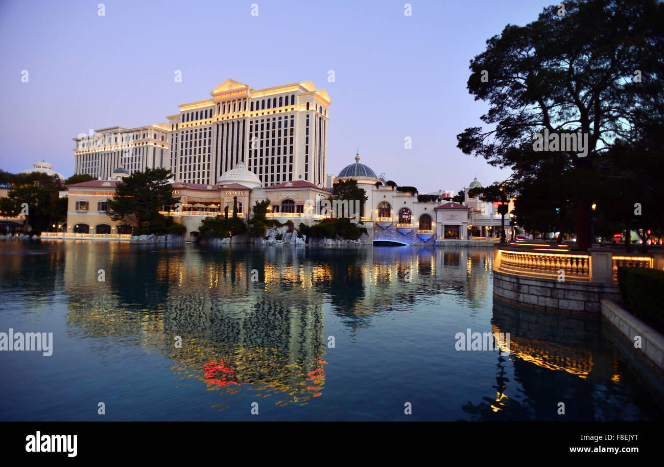 Caesars Palace Hotel looking across the Bellagio lake Las vegas, Nevada - Stock Image
