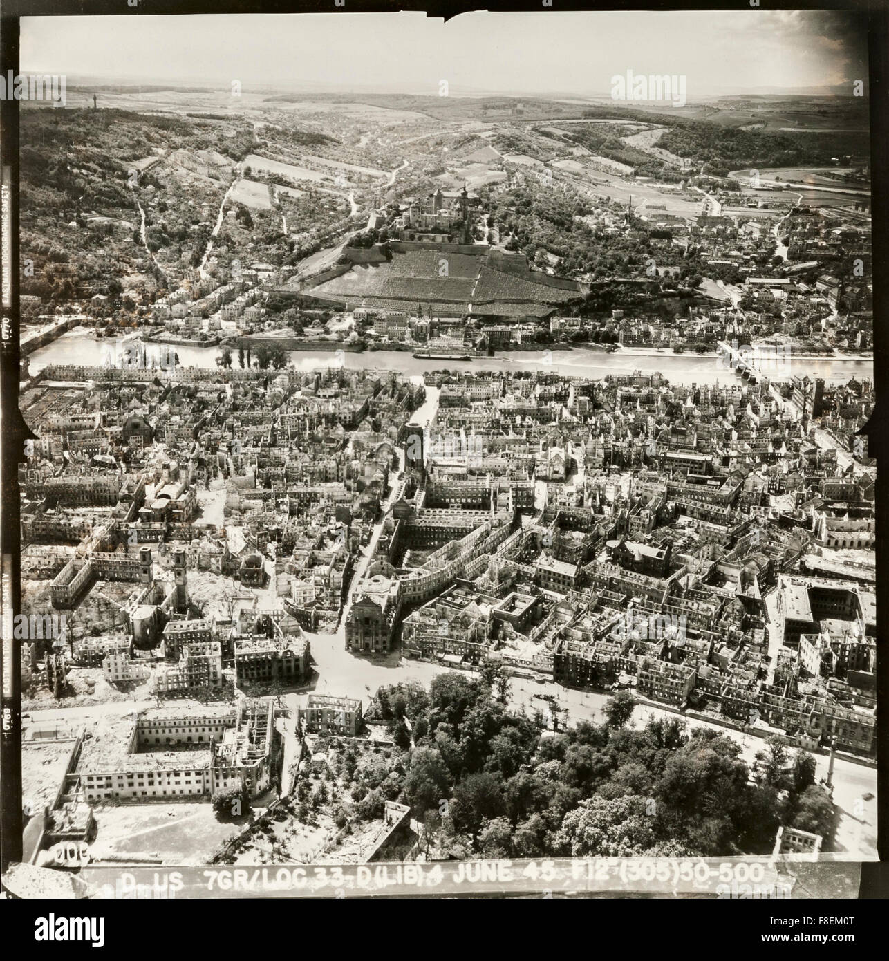 An aerial reconnaissance photograph of the historic German city of Würzburg in ruins after a massive RAF bombing - Stock Image