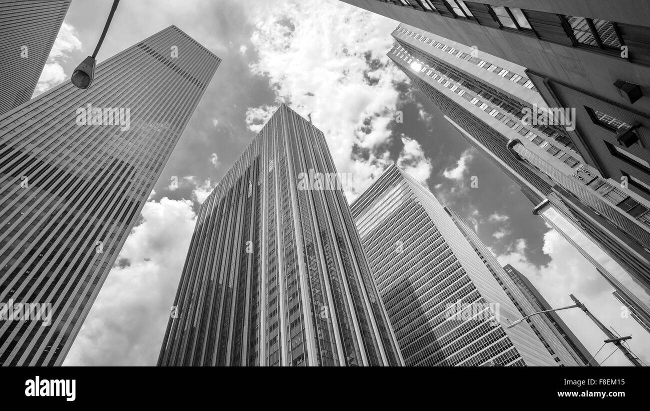 Black and white photo of skyscrapers in Manhattan, New York City, USA. - Stock Image