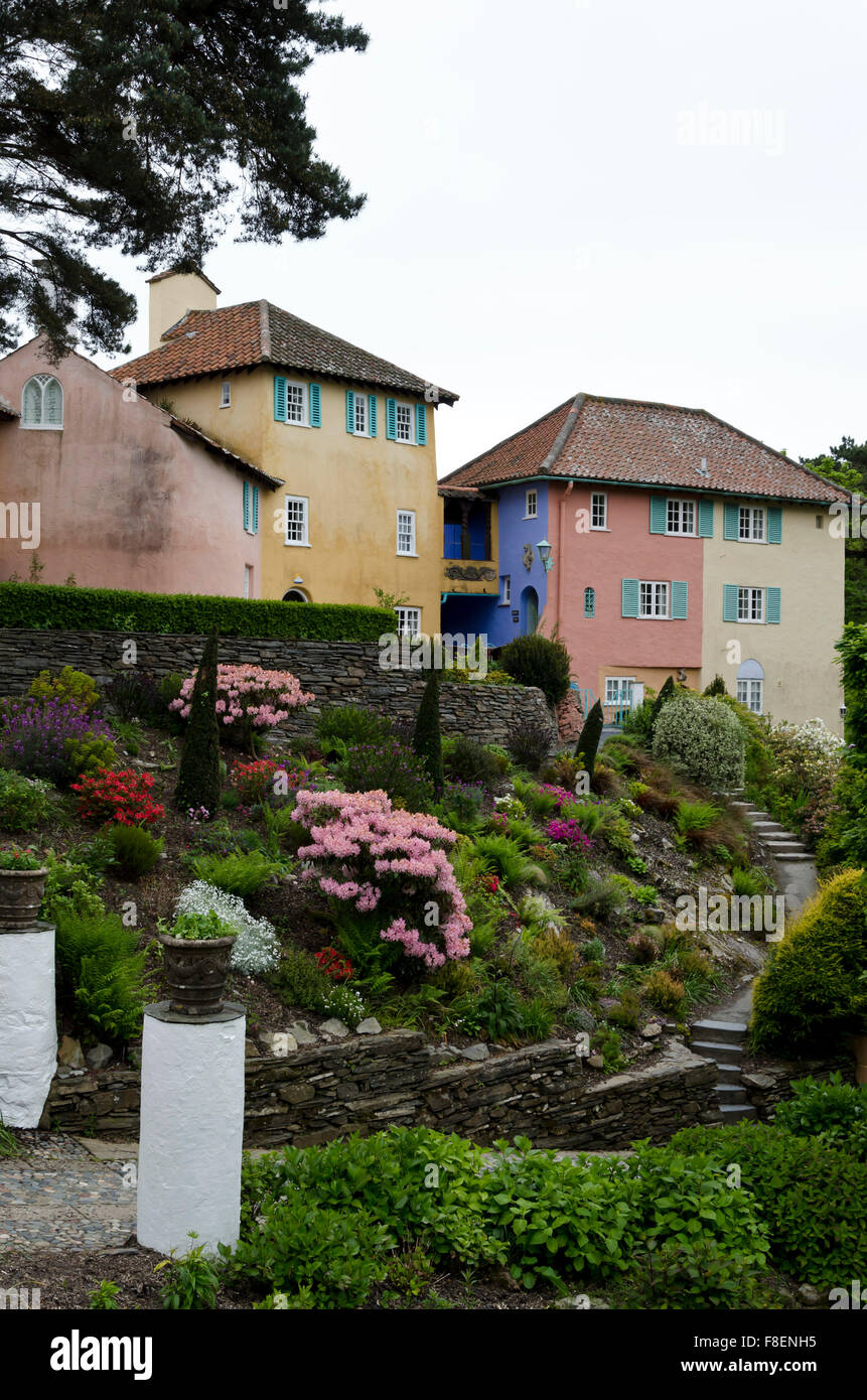 Portmeirion, the 'Italianesque' village in North Wales that featured as 'The Village' in 'The - Stock Image