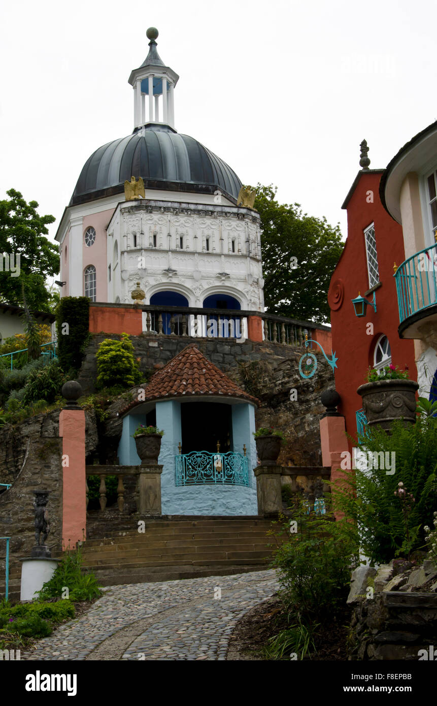 The Dome at Portmeirion, the village in North Wales that featured as 'The Village' in 'The 'Prisoner' - Stock Image