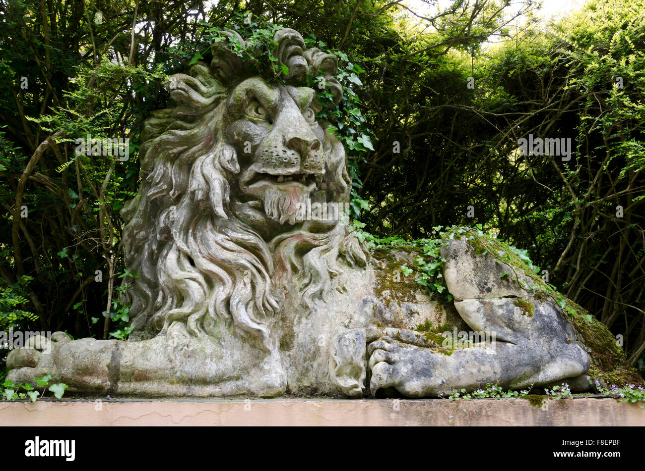 Lion sculpture at Portmeirion, the village in North Wales that featured as 'The Village' in 'The 'Prisoner' - Stock Image