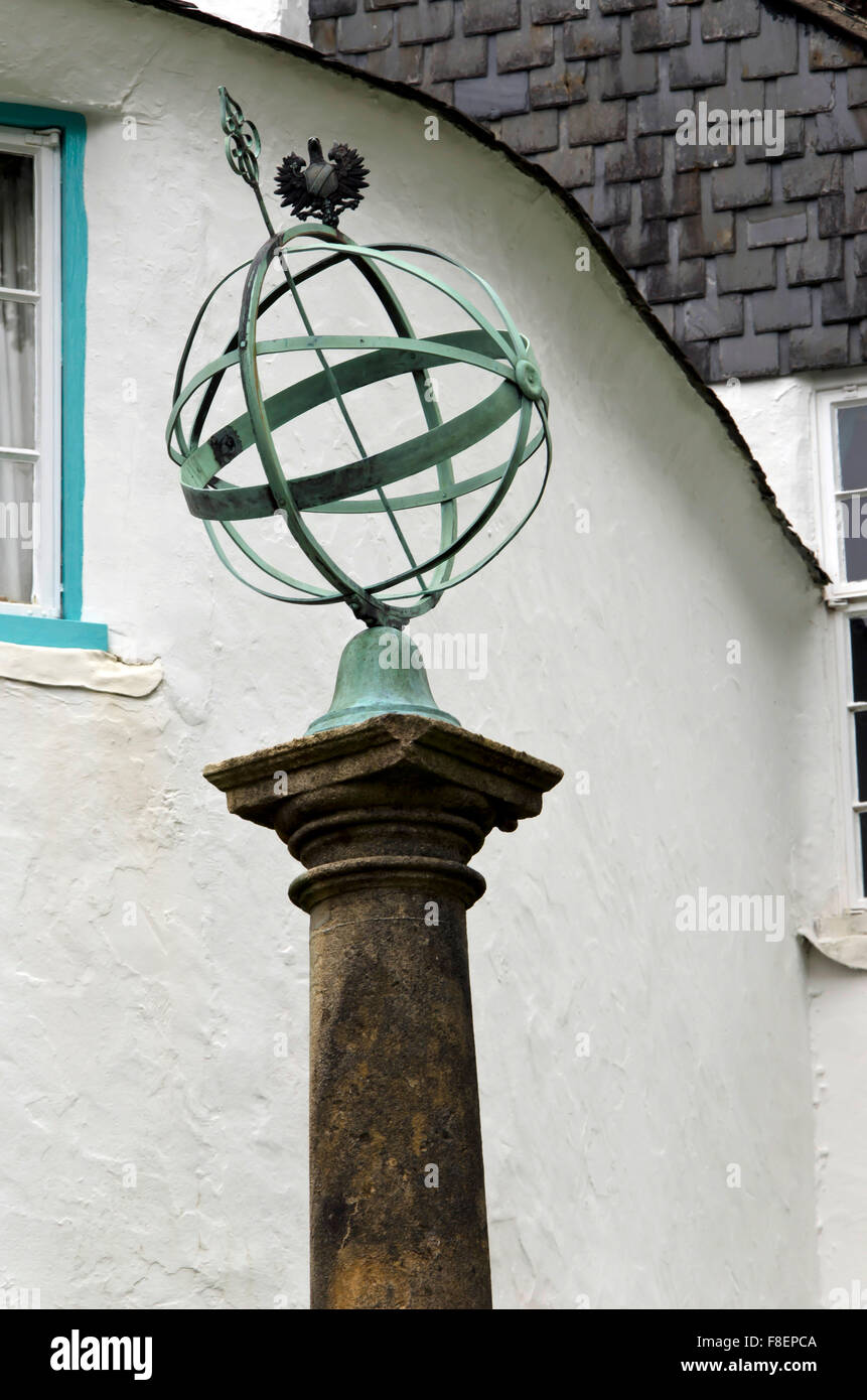 Globe sundial at Portmeirion, the village in North Wales that featured as 'The Village' in 'The 'Prisoner' - Stock Image