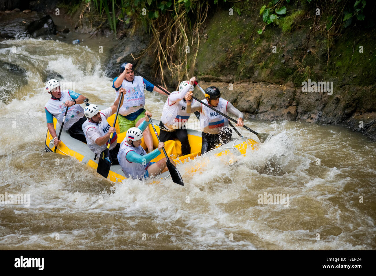 Russian master men's team during sprint race category on 2015 World Rafting Championship. - Stock Image