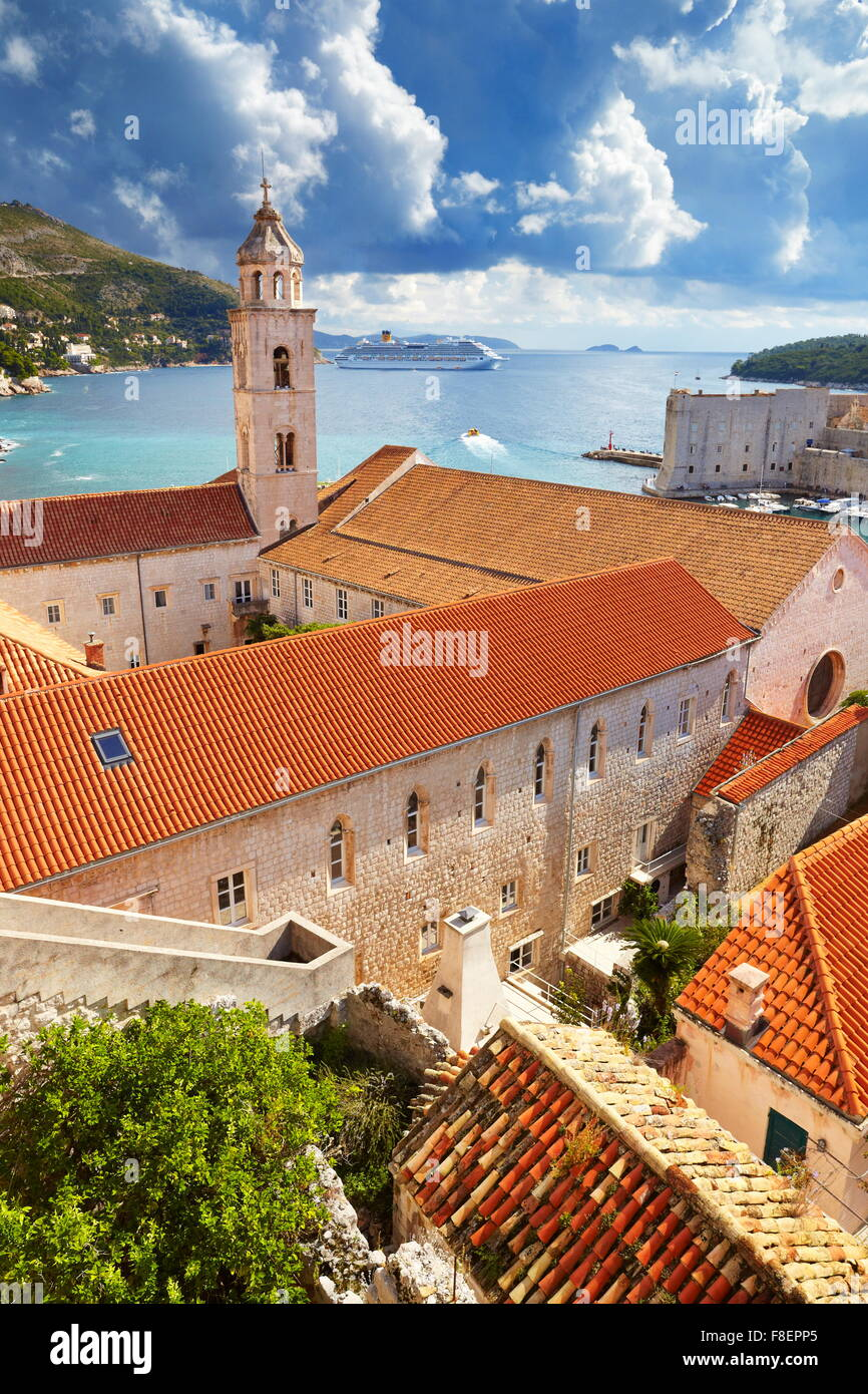 Dubrovnik Old Town cityscape, view from Old Town Walls, Croatia - Stock Image