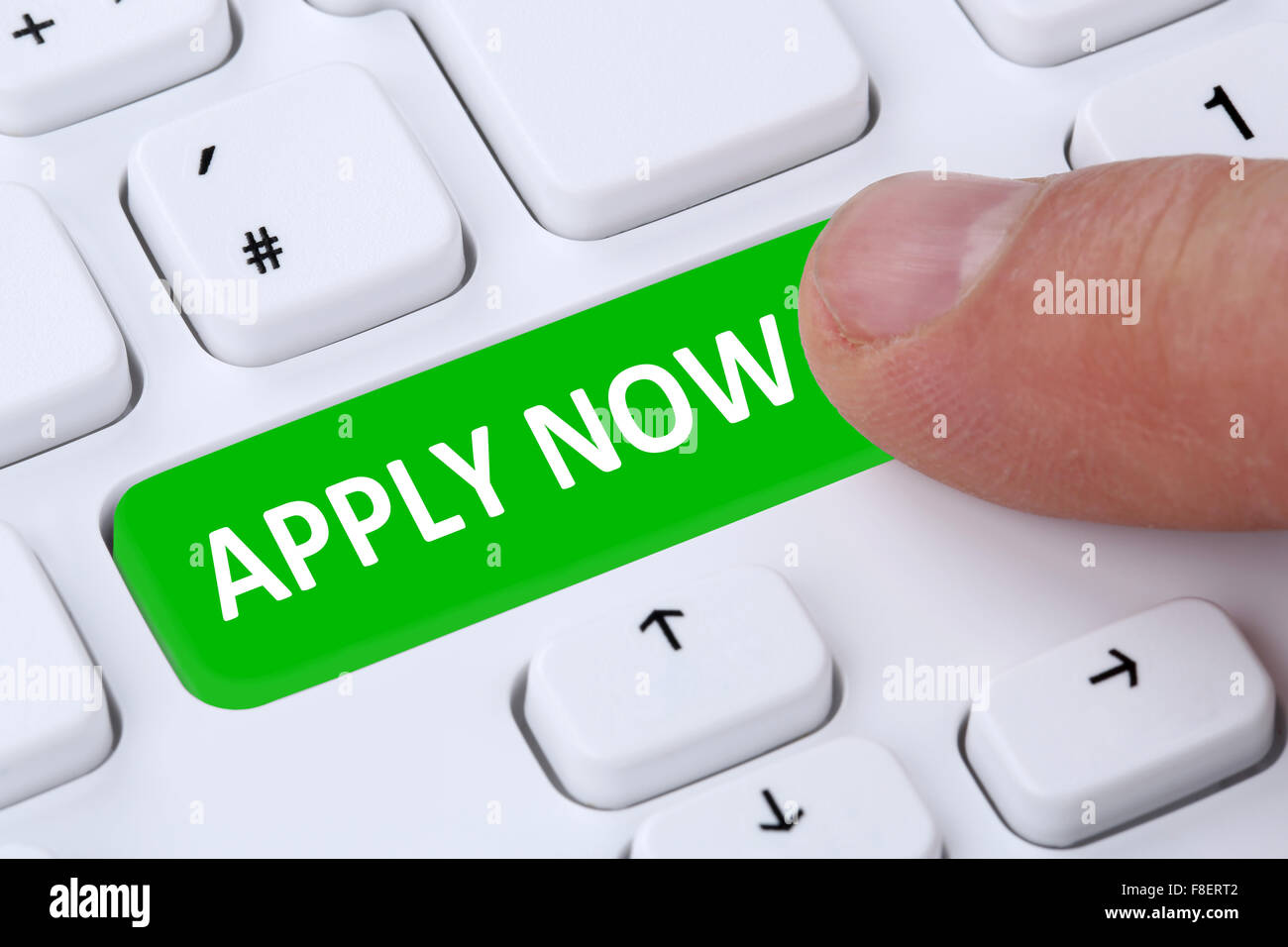 Application apply online job search on internet search on computer - Stock Image
