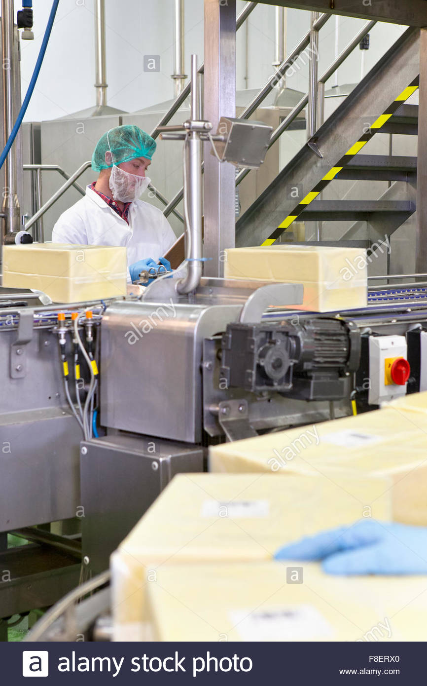 Worker behind machinery at production line in cheese processing plant - Stock Image