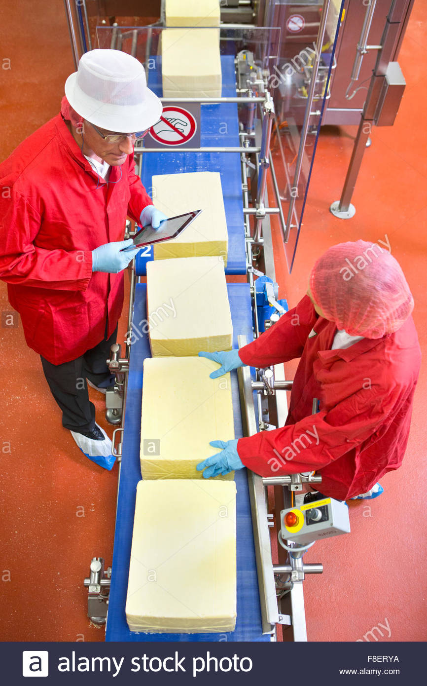 High angle view of workers with digital tablet checking large blocks of cheese at production line in processing - Stock Image
