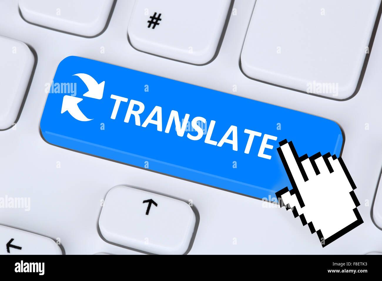 Translate translation language translator learning on internet - Stock Image