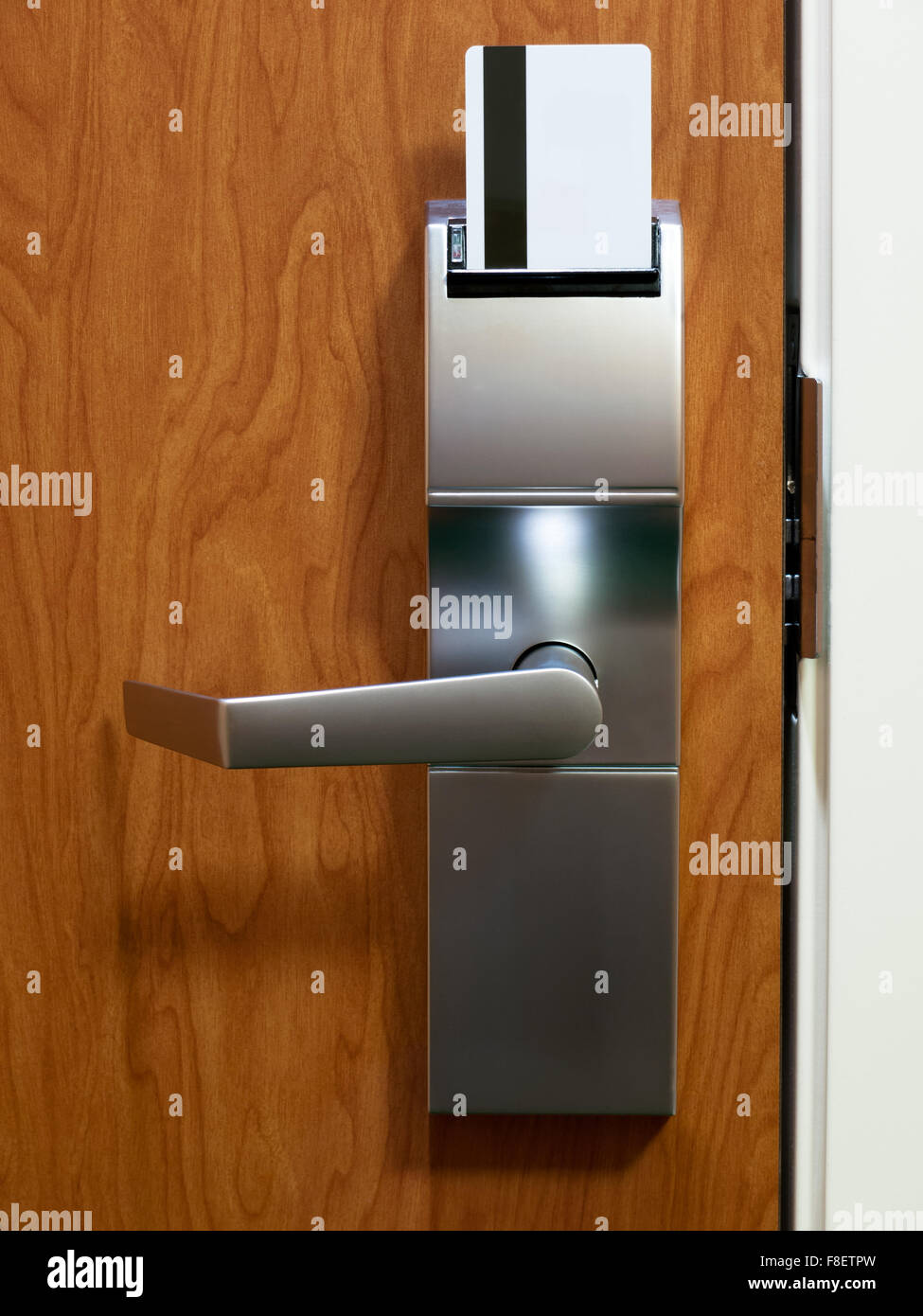 Hotel room electronic door lock with keycard Stock Photo: 91295873