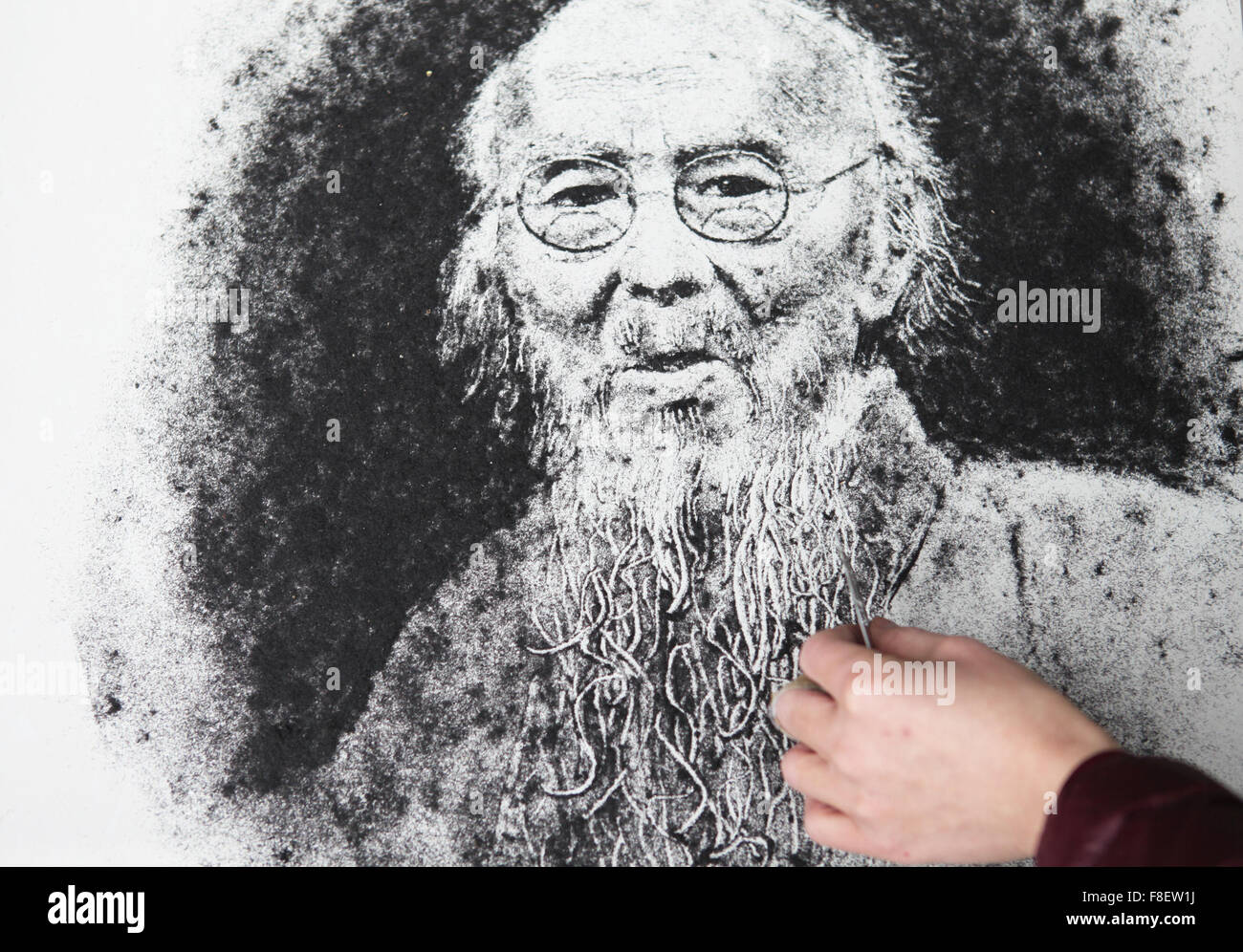 Sanmenxia. 9th Dec, 2015. Photo taken on Dec. 9, 2015 shows a Qi Baishi's portait drawed with hair pieces by - Stock Image