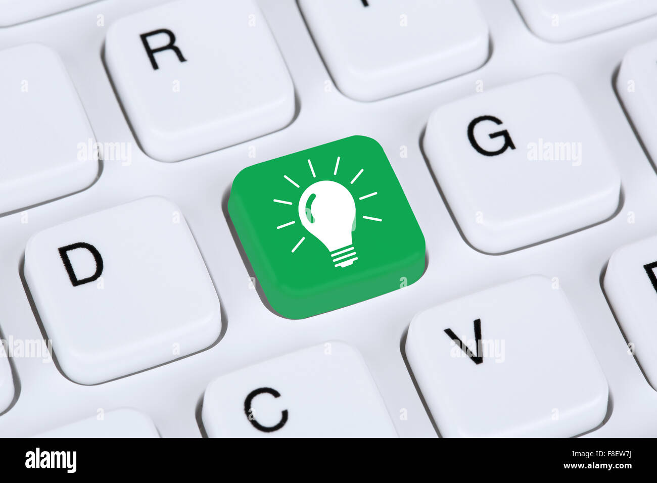 Idea solution light bulb success successful concept on internet computer - Stock Image