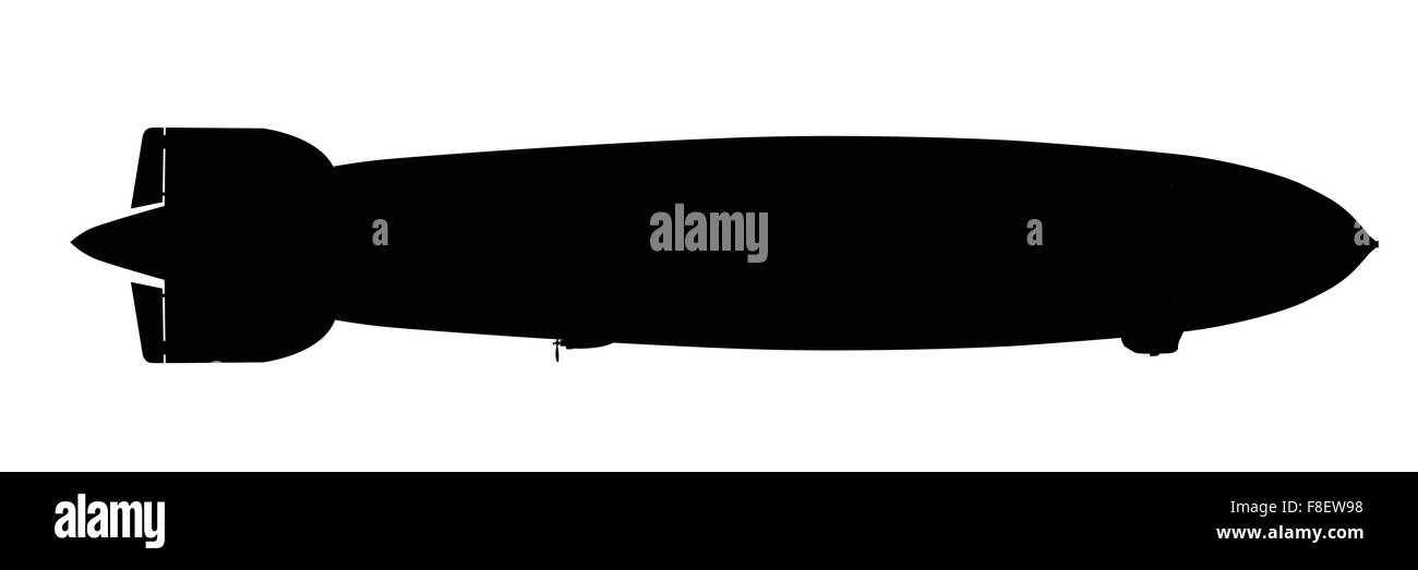 Silhouette of a large 1930s hydrogen filled airship over a white background - Stock Vector