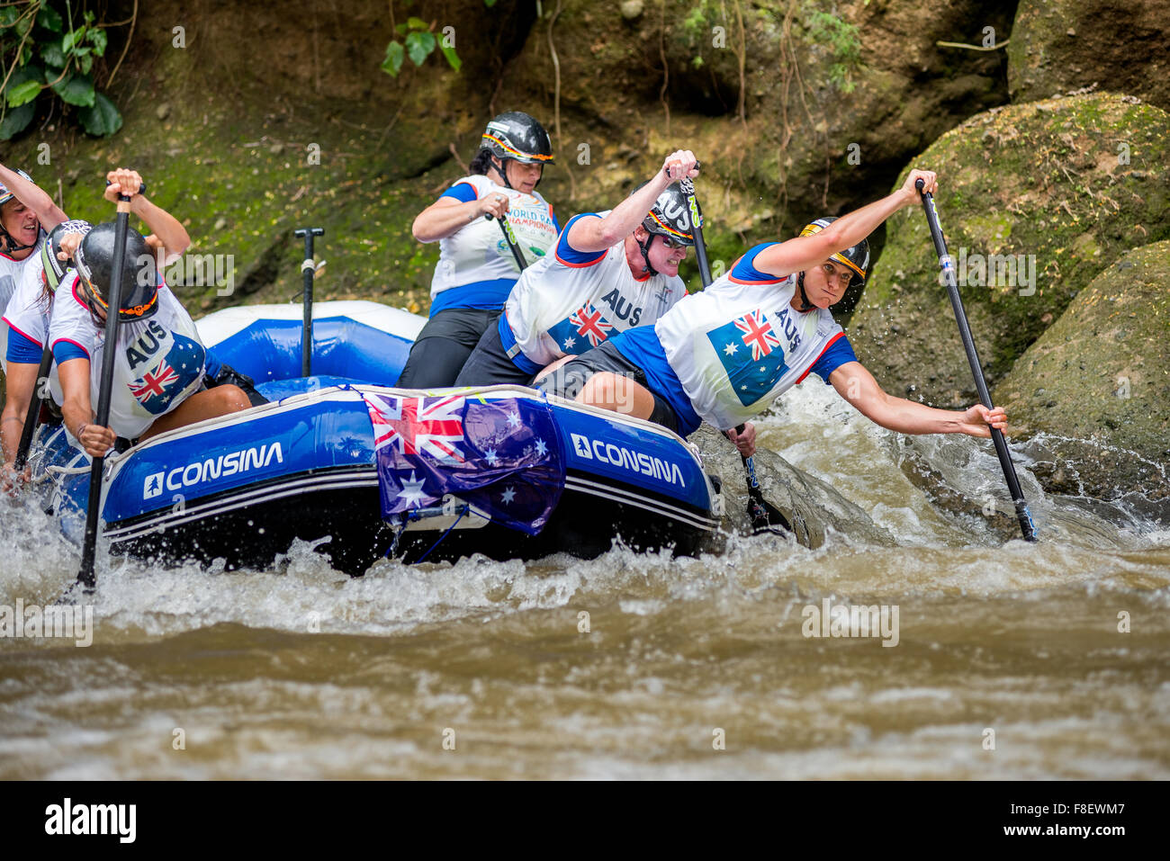 Australian open women's team during sprint race category on 2015 World Rafting Championship. - Stock Image