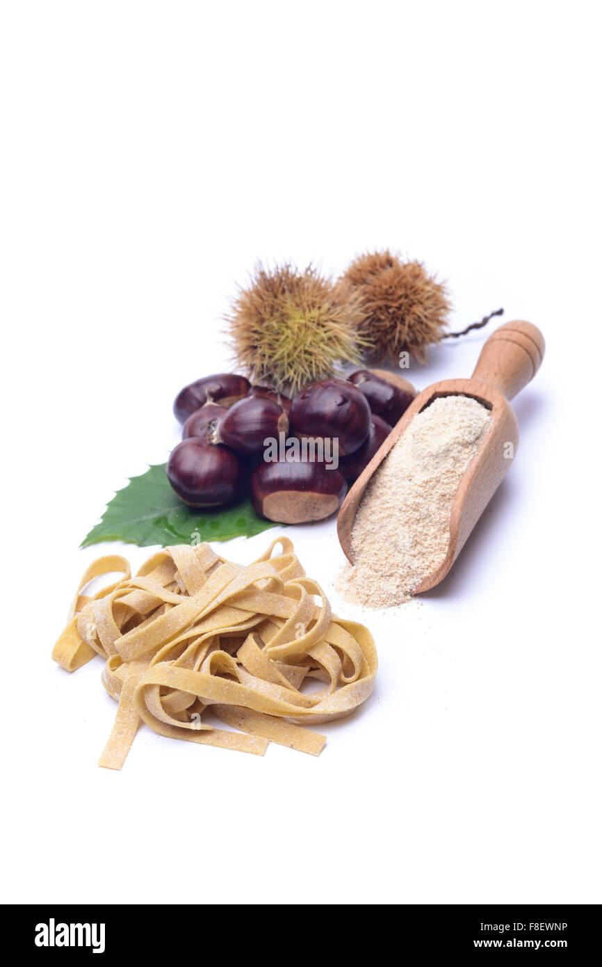 tagliatelle fresche di farina di castagne Stock Photo