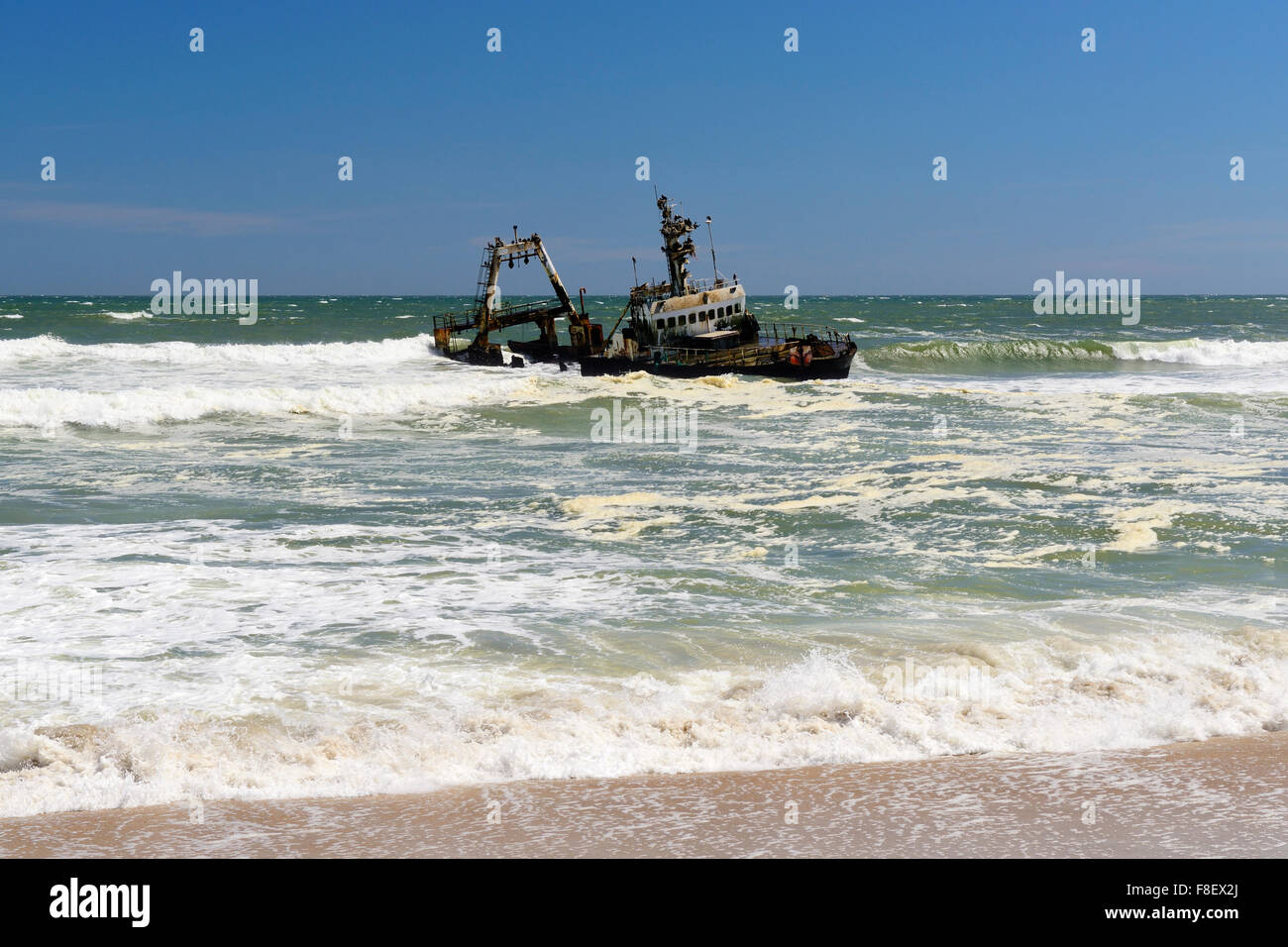 Shipwreck off Skeleton Coast north of Swakopmund, Namibia - Stock Image