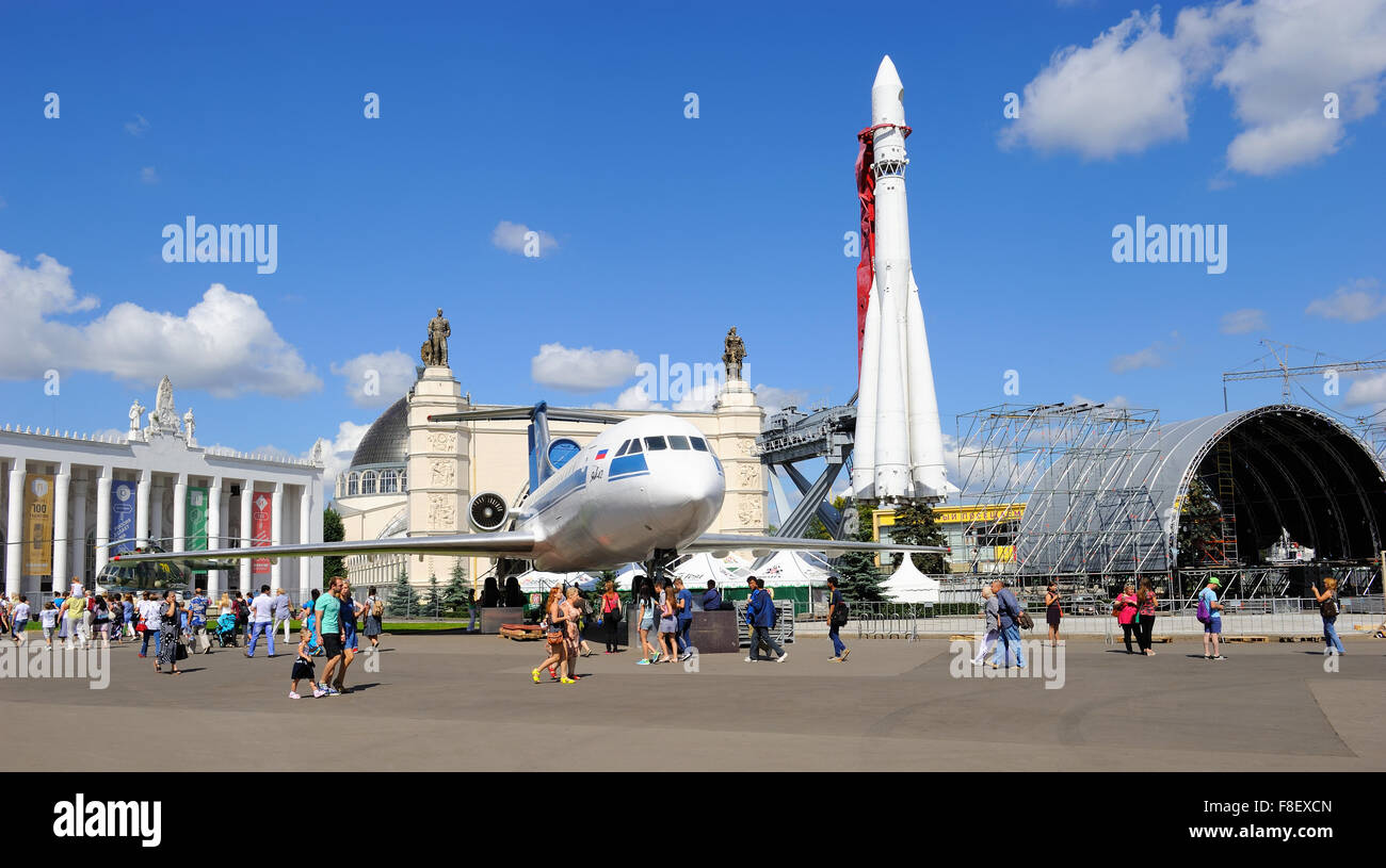 View of the pavilion 'Space', Yak-42 and rocket Vostok-1 on the Exhibition of Economic Achievements - Stock Image