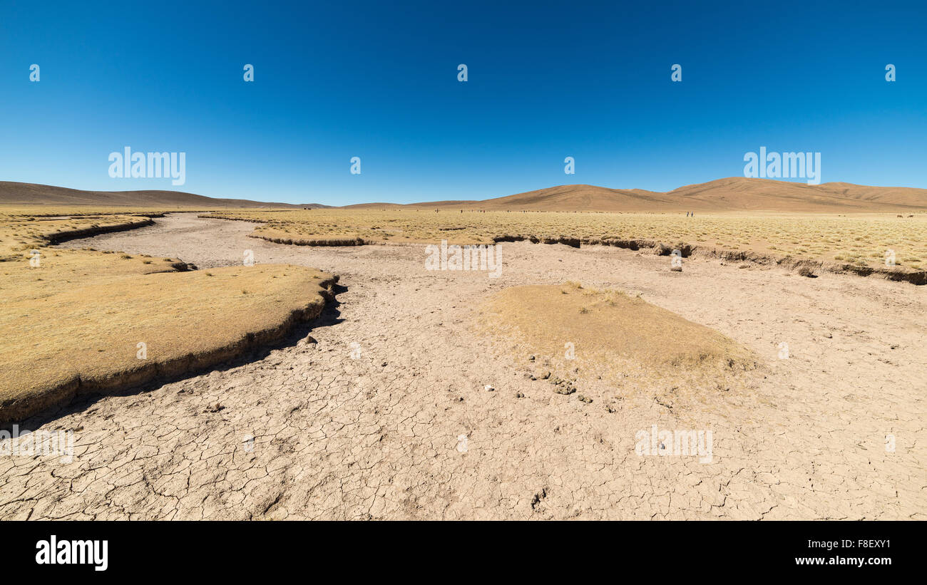 Barren valley, known as 'quebradas', and mountain range of Lipez region on the Andean Highlands, among the - Stock Image