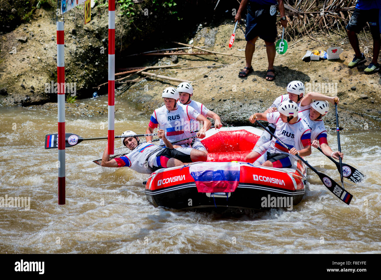 Russian U23 men's team during slalom race category on 2015 World Rafting Championship. - Stock Image