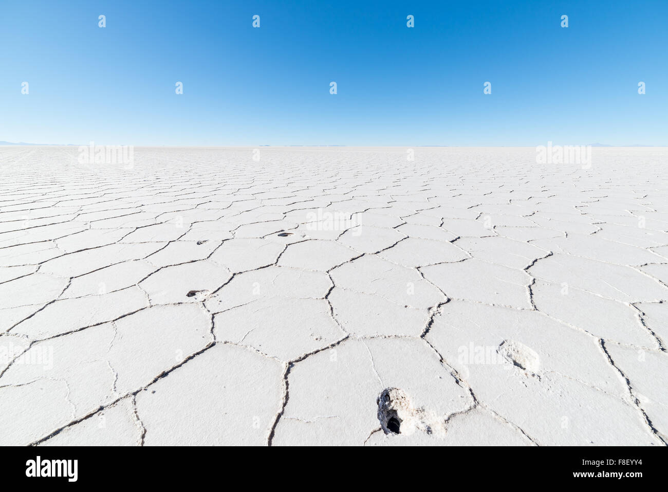 Wide angle view of the world famous Uyuni Salt Flat, among the most important travel destination in the Bolivian - Stock Image
