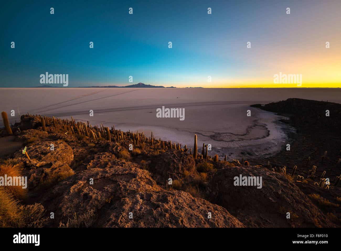 Uyuni Salt Flat viewed from the summit of the Incahuasi Island, among the most important travel destination in Bolivia. - Stock Image