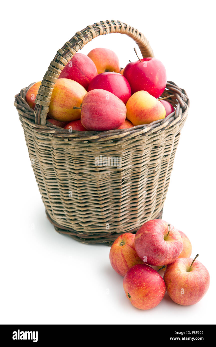 autumn apples in basket on white background - Stock Image