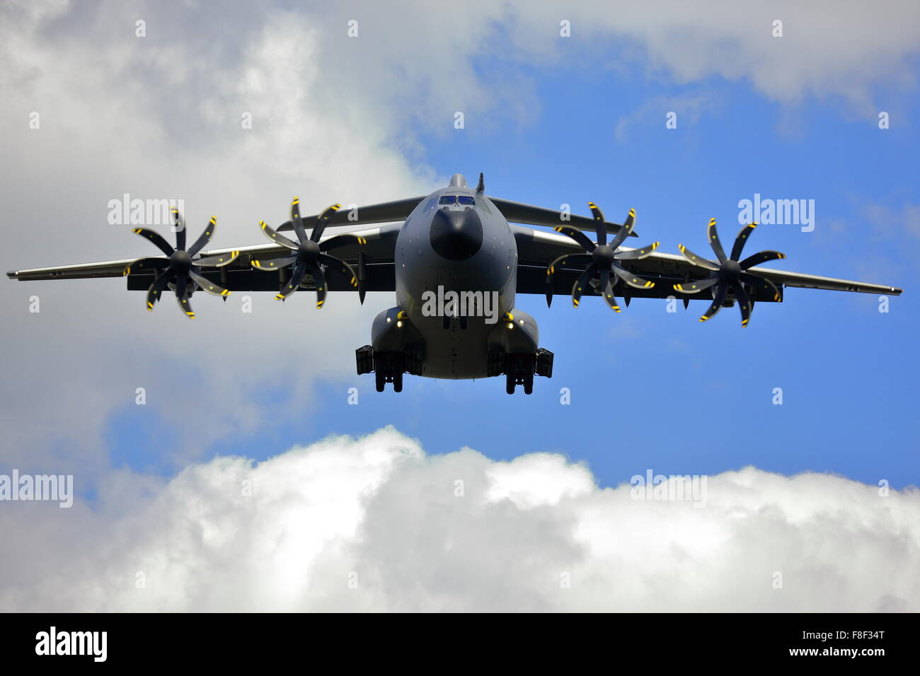 Airbus A400m approaching Farnborough Airport during the Air Show 2014 - Stock Image