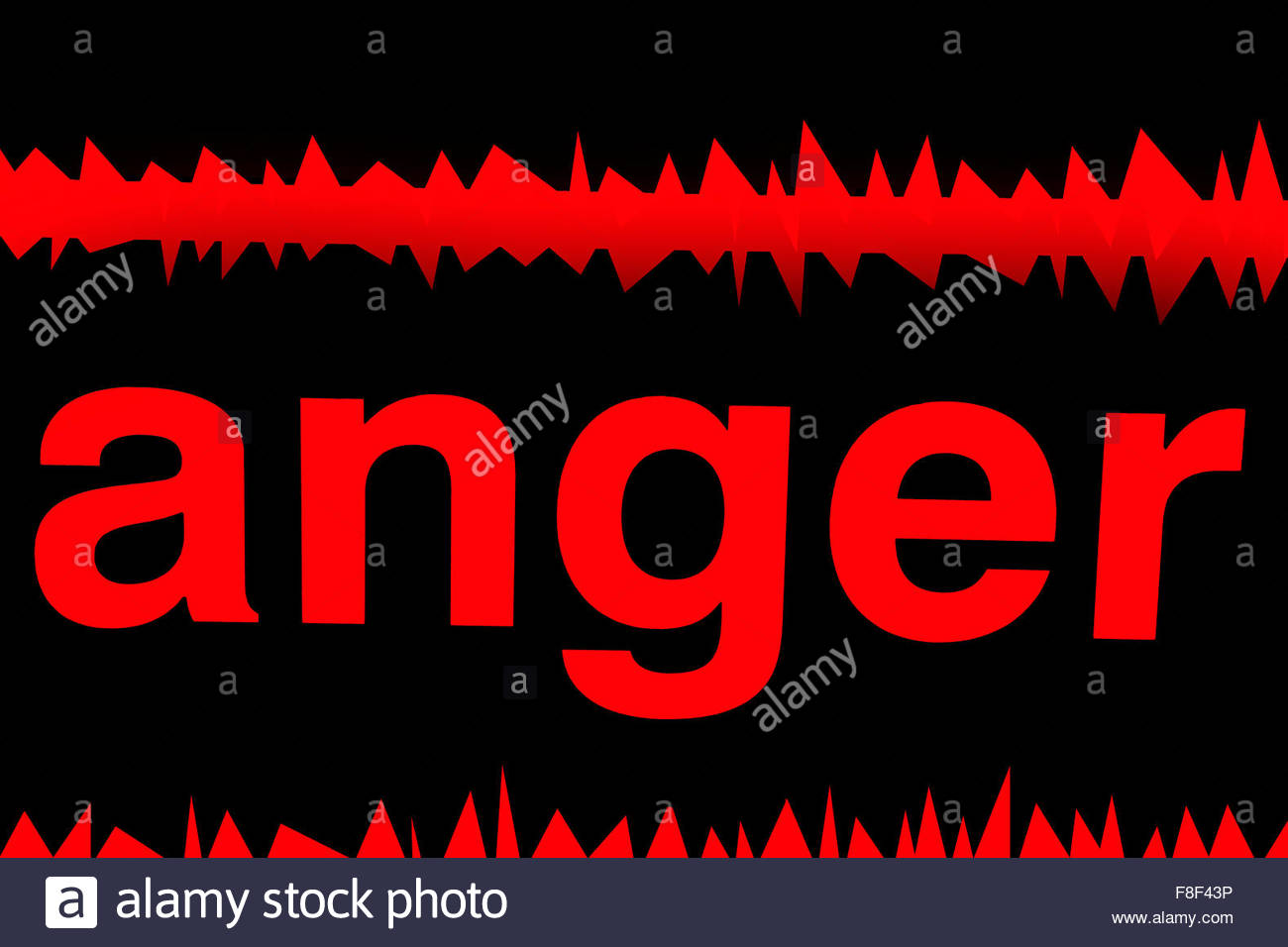 Red on black, the word 'anger' and two jagged lines. - Stock Image