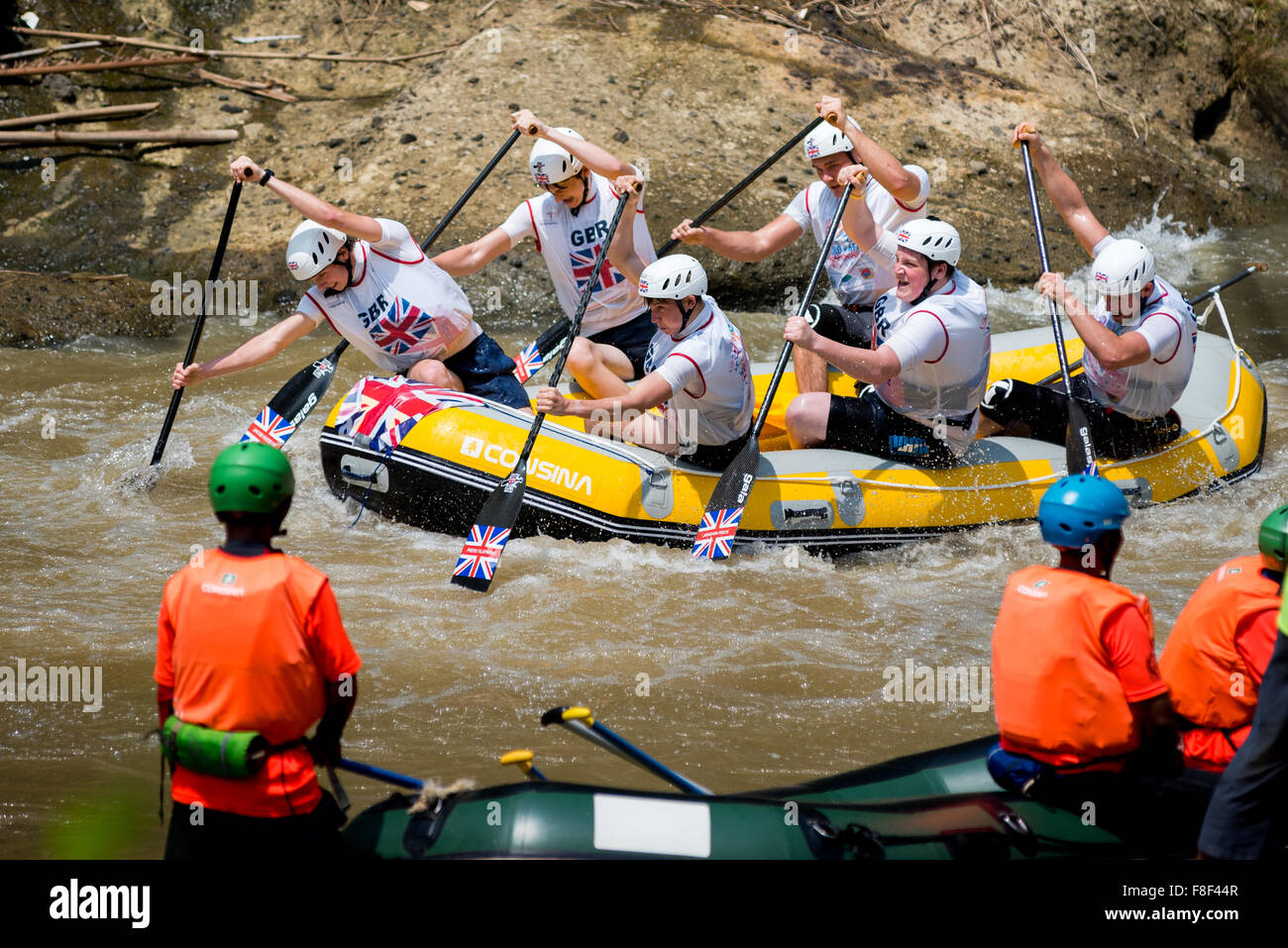Great Britain U19 men's team during sprint race category on 2015 World Rafting Championships. - Stock Image