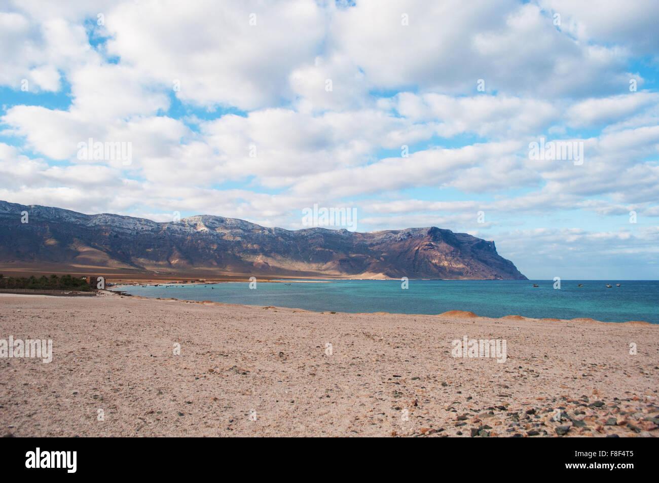 The protected area of Ras Shuab,  Shuab Bay beach, Gulf of Aden, Arabian Sea, Socotra Island, Yemen, Middle East. - Stock Image
