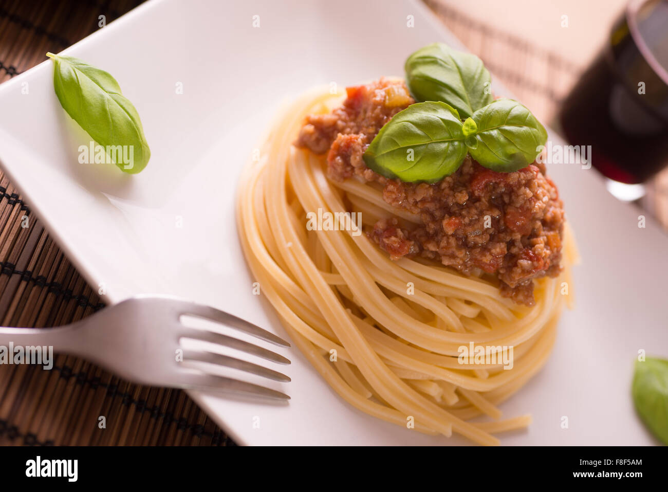 Italian spaghetti dressed with Bolognese vegan sauce Stock Photo