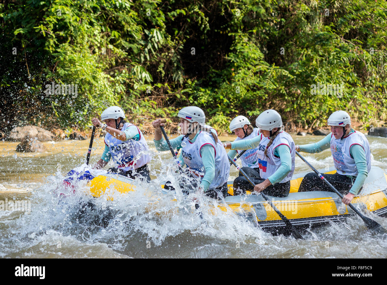 Russian U19 women's team during sprint race category on 2015 World Rafting Championships. - Stock Image
