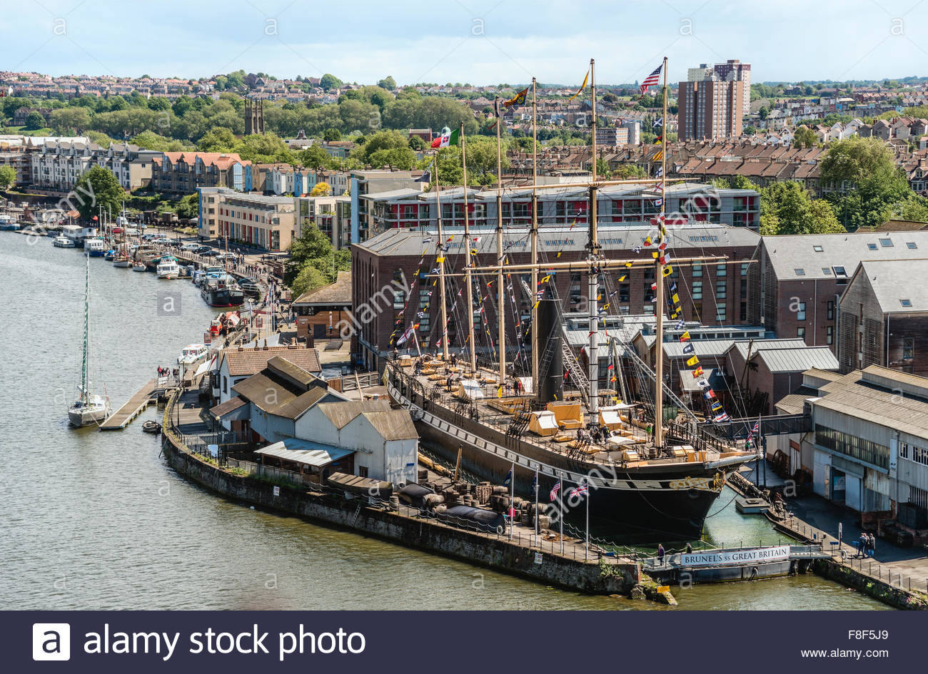 Brunels SS Great Britain is a museum ship and former passenger steamship at Bristol Harbor, Somerset, England, UK - Stock Image